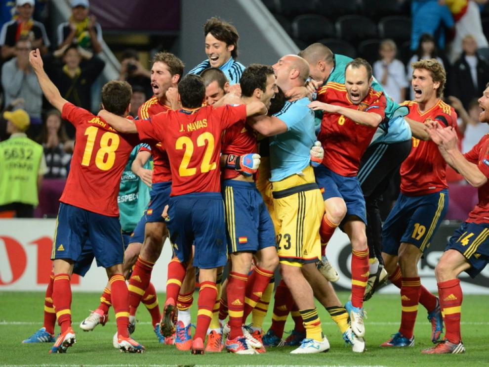 España celebra su pase a la final