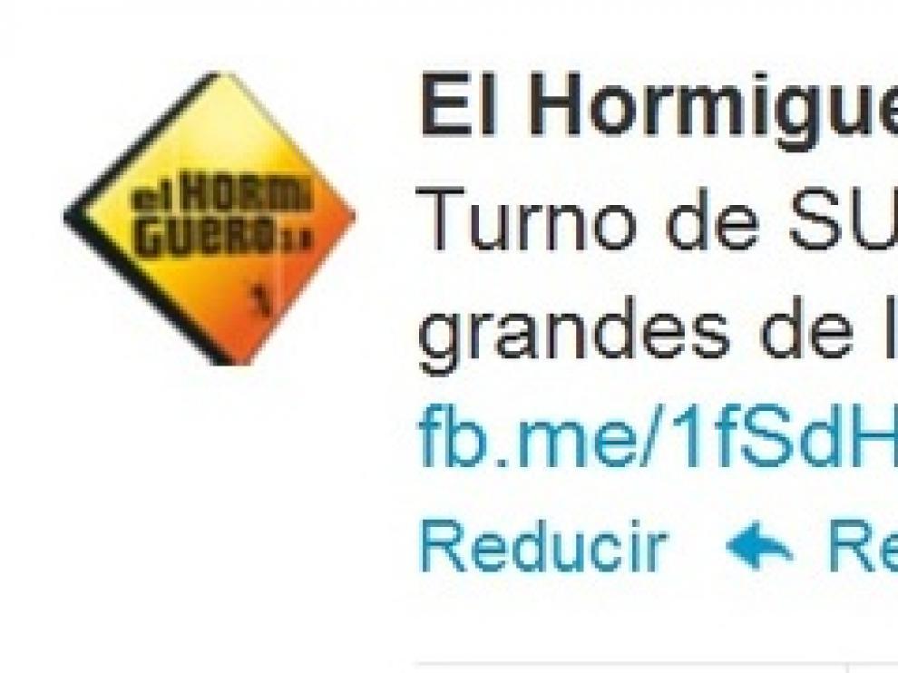 Tweet de 'El Hormiguero' en referencia a la entrevista de HERALDO