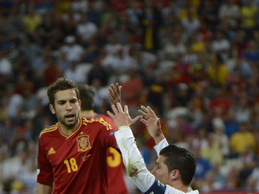 Jordi Alba en el partido contra Portugal de la Eurocopa 2012