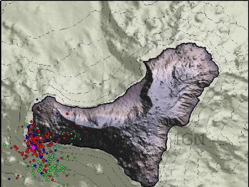 Sismos registrados en los últimos tres días en la isla de El Hierro