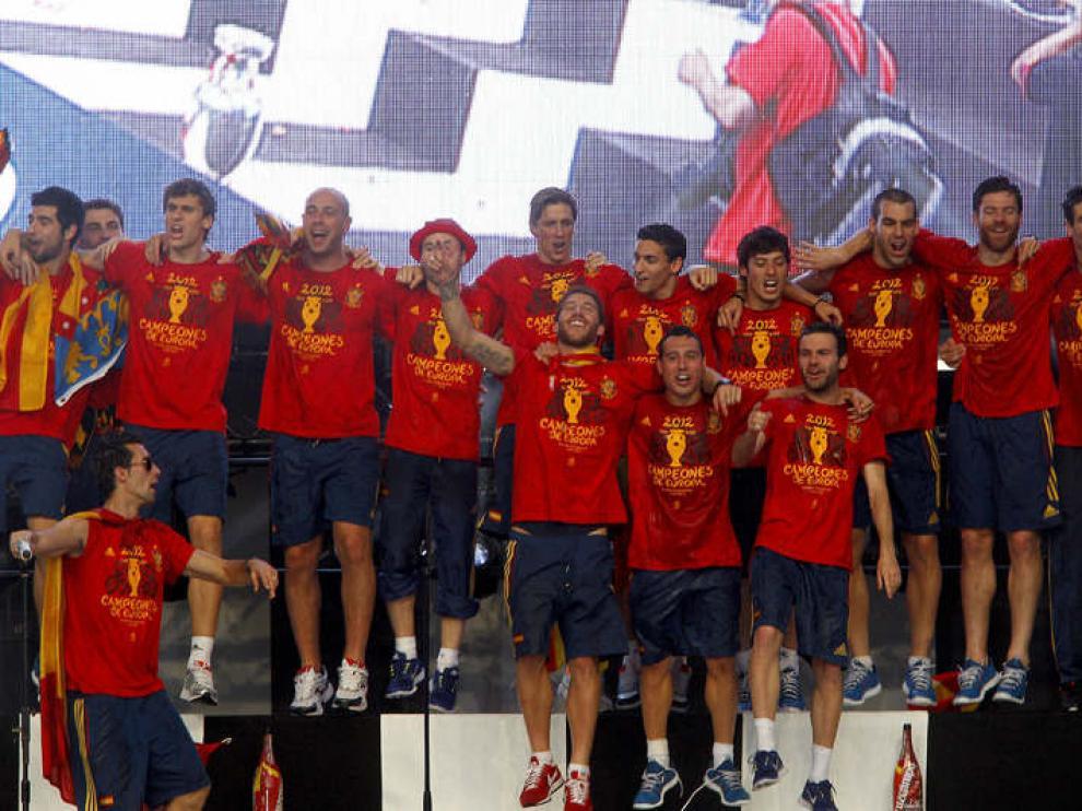 Celebración en Madrid de la victoria de la Roja