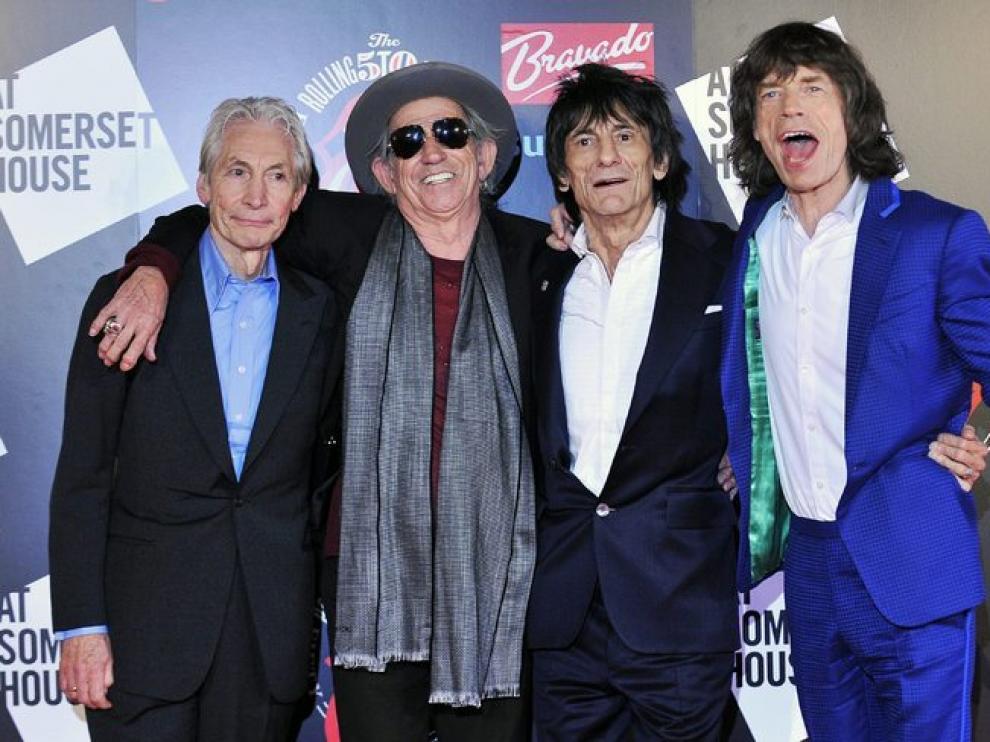 Los integrantes de los Rolling Stone, en la celebración de sus 50 años.