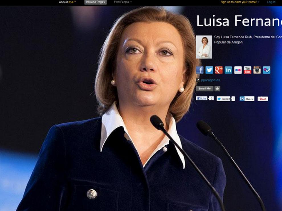 La web personal de Luisa Fernanda Rudi muestra todas las redes sociales en las que está presente