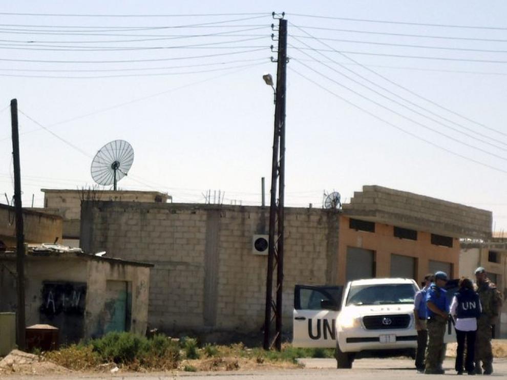 Los observadores de la ONU visitaron la ciudad de Tremseh.