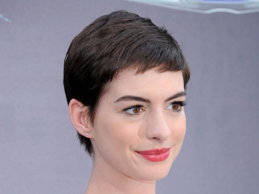 Hathaway en la presentación de la nueva película de Batman