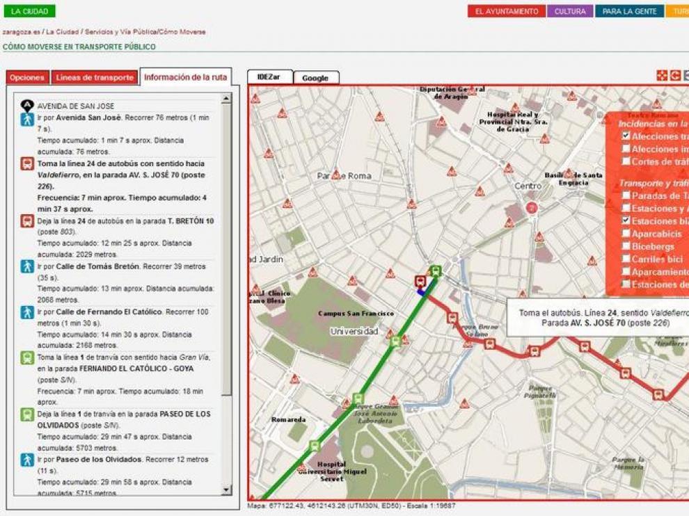 La web municipal permite planificar los desplazamientos combinando bus y tranvía