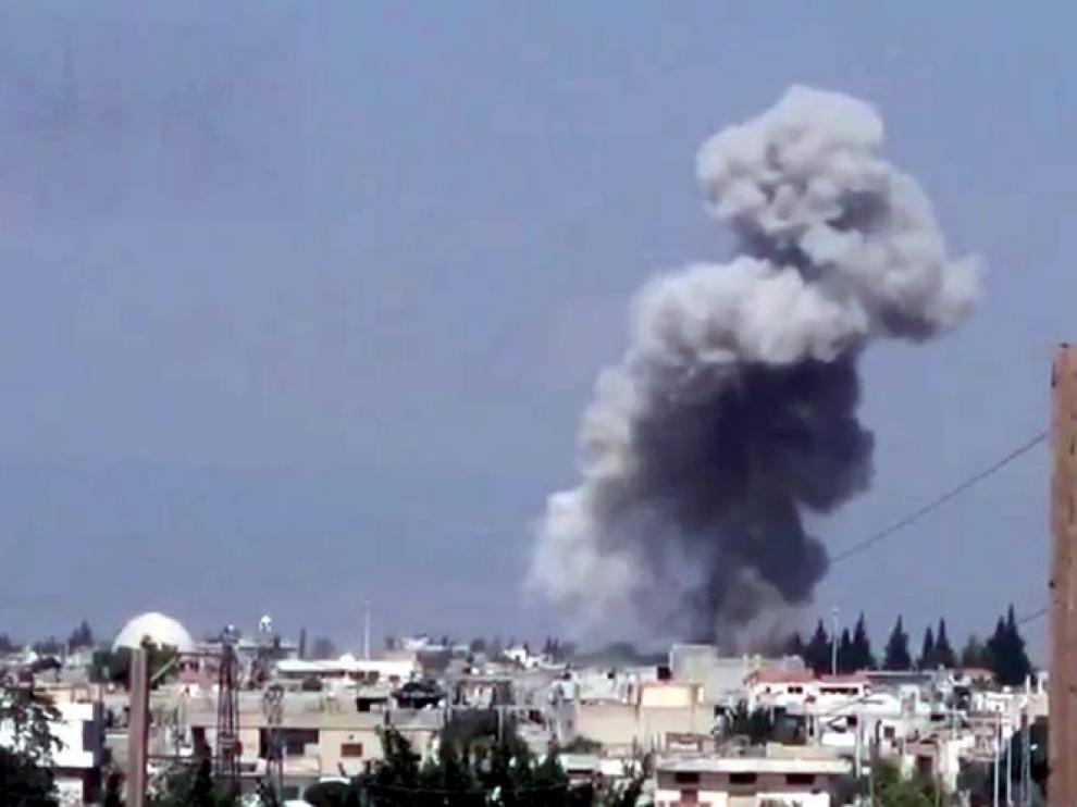 Uno de los bombardeos en Siria