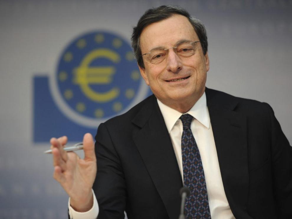 Mario Dragui durante una rueda de prensa del BCE.