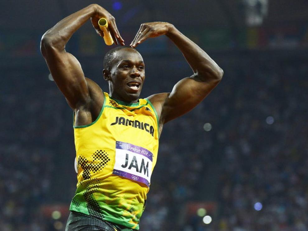 Bolt celebrando una victoria en los Juegos Olímpicos