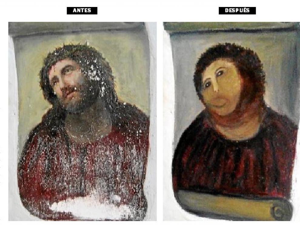Antes y después del cuadro dañado