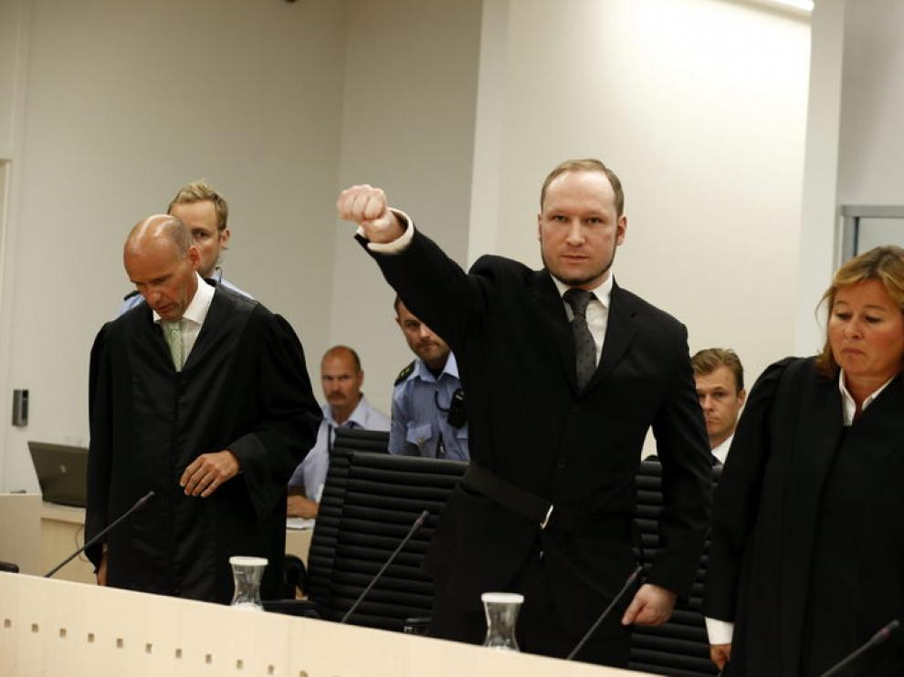 Breivik, poco antes de conocer su condena