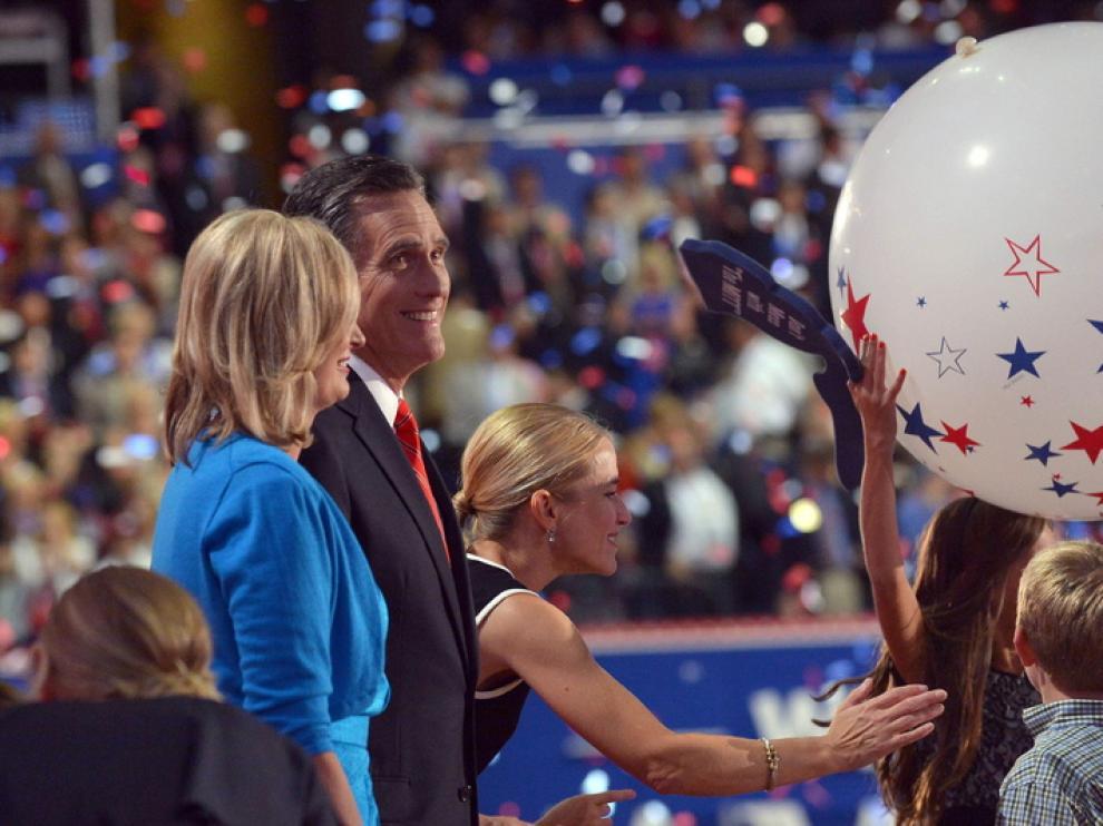 El candidato republicano, Mitt Romney, en la clausura de la Convención