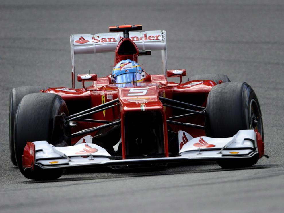 El piloto español de Ferrari en el circuito de Bélgica este sábado.