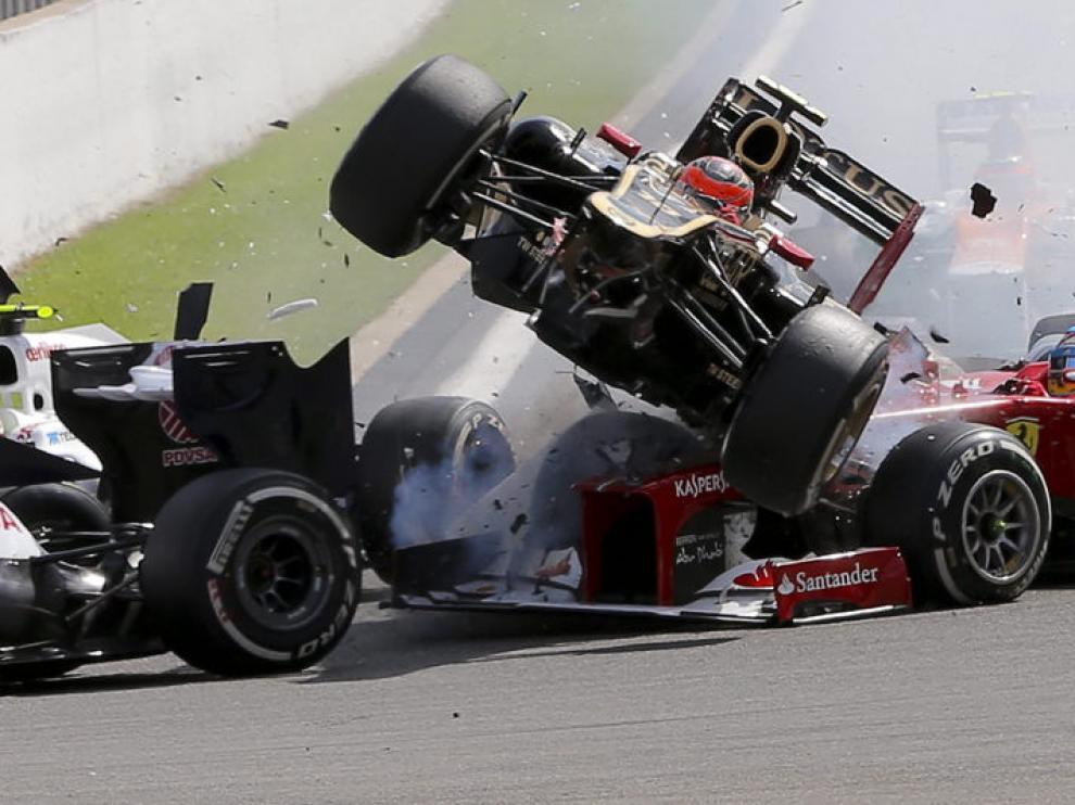 Accidente en la salida del Gran Premio de Bélgica