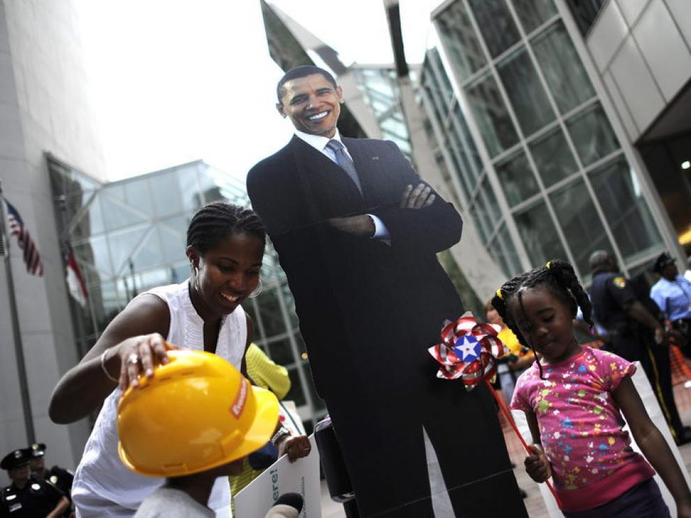 Imagen de Obama en Charlotte, donde tendrá lugar la Convención Demócrata