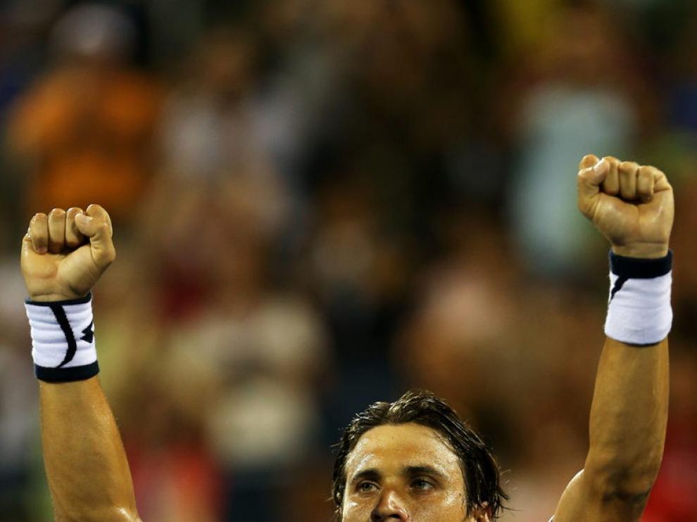 David Ferrer celebra su victoria ante Gasquet