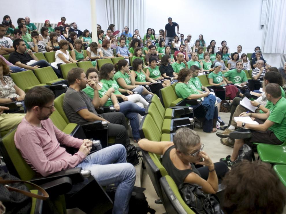 Los miembros de Marea Verde se reunieron este miércoles