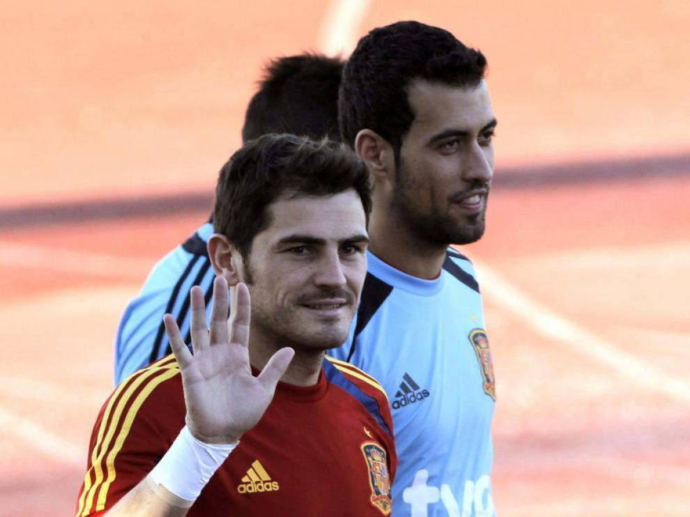 Casillas, en la concentración con la Selección