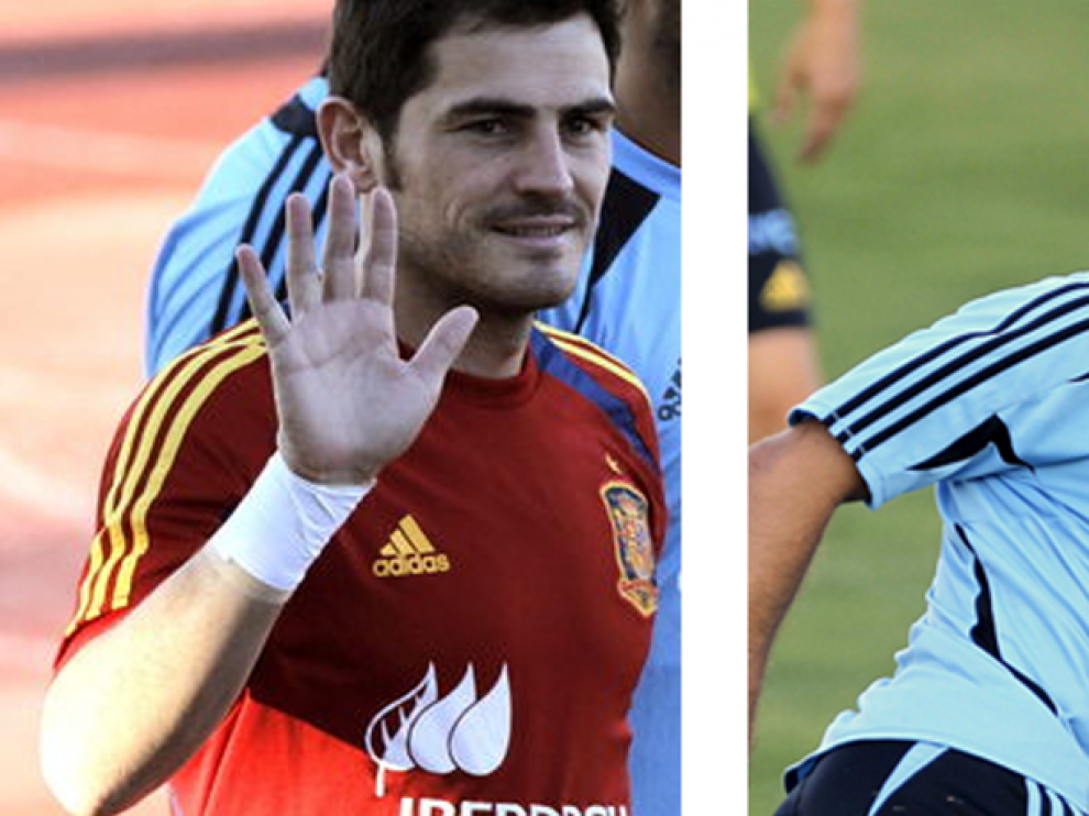 Iker y Xavi durante unos entrenamientos con la Selección Española.