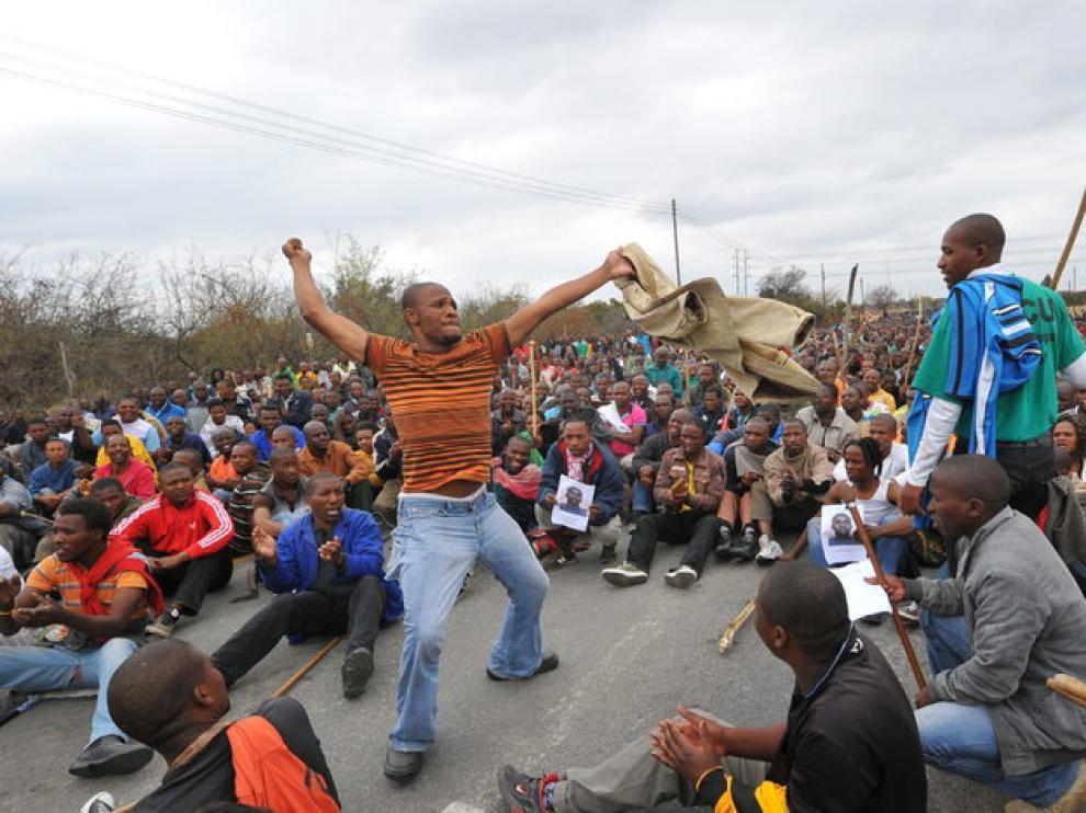 Protesta de mineros en Sudáfrica