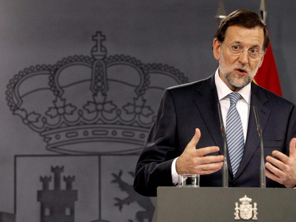 Rajoy en la rueda de prensa que ha ofrecido junto a Merkel