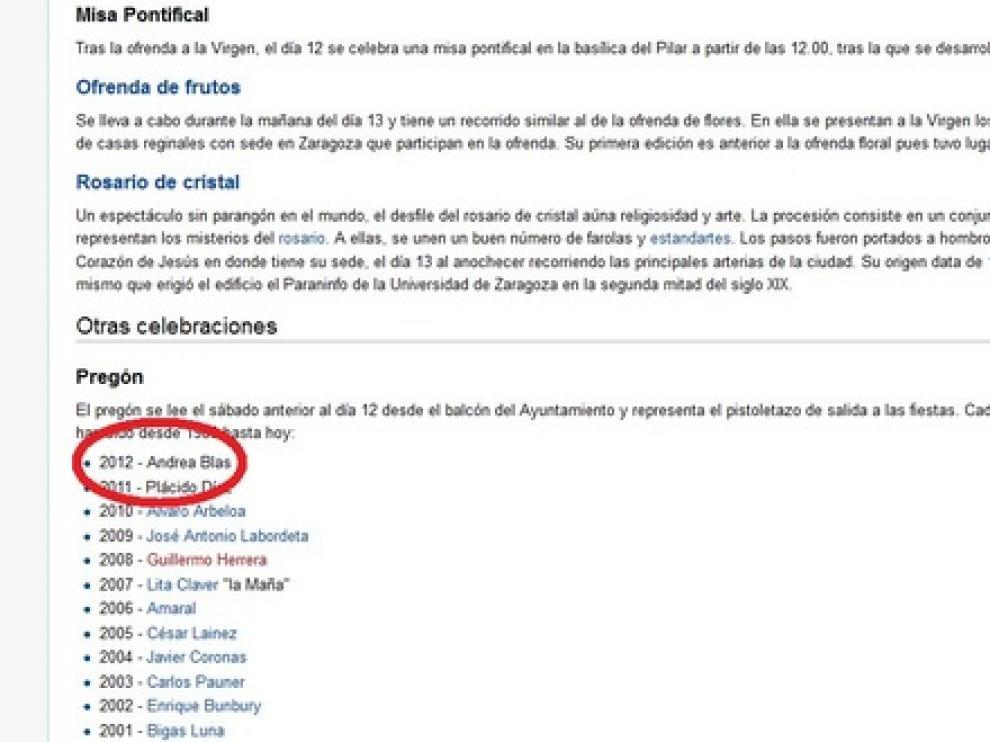 Wikipedia nombra a Blas como pregonera 2012