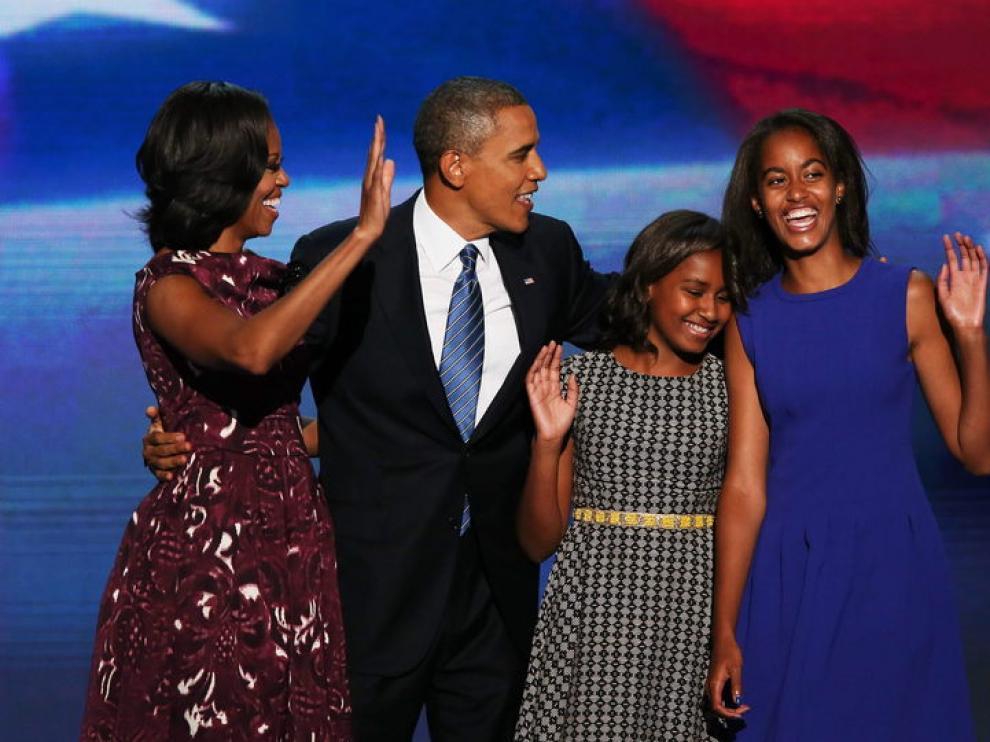 Obama con su familia en la aceptación de la candidatura a la reelección