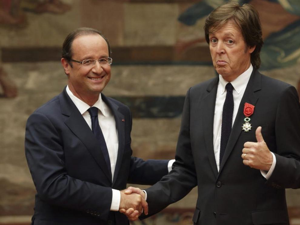 François Hollande y Paul McCartney