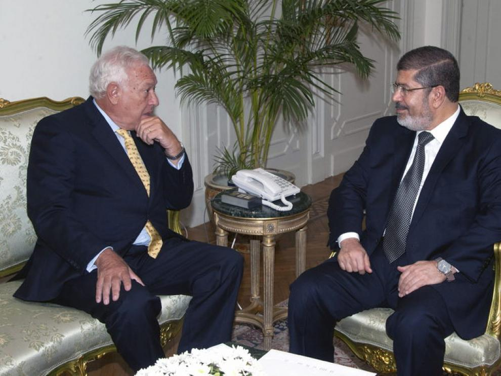 García-Margallo durante su reunión con el presidente egipcio.
