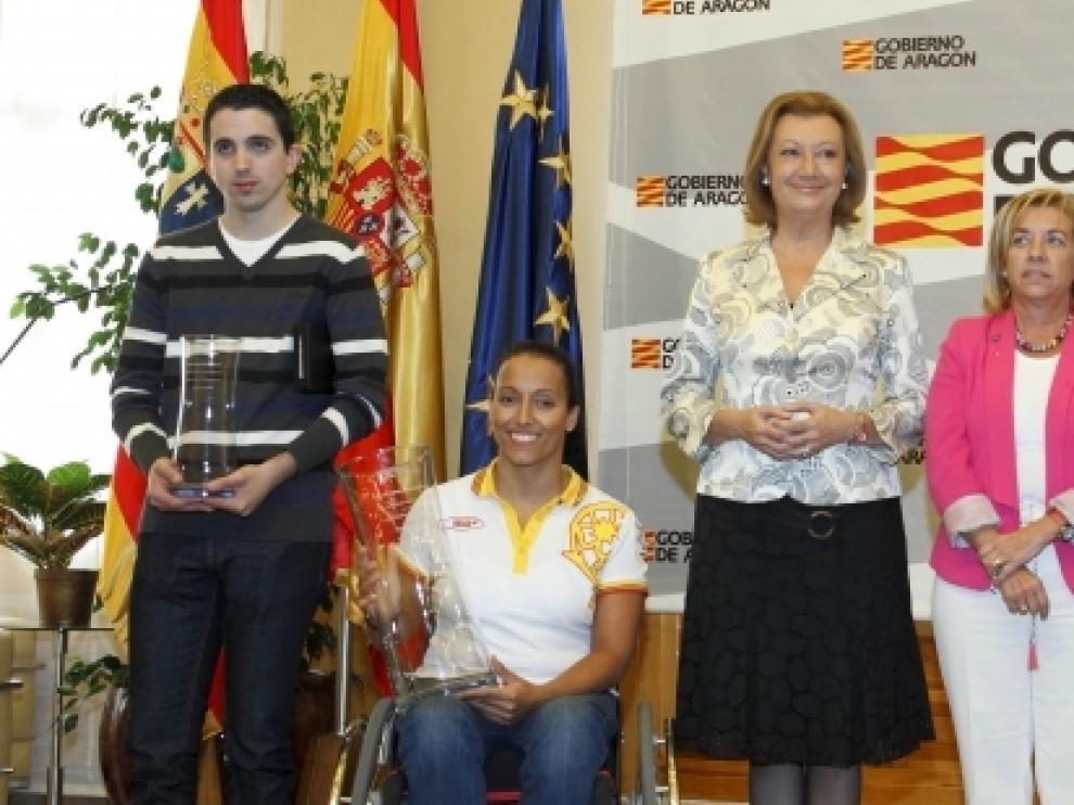 Los deportistas aragoneses fueron recibidos por Rudi