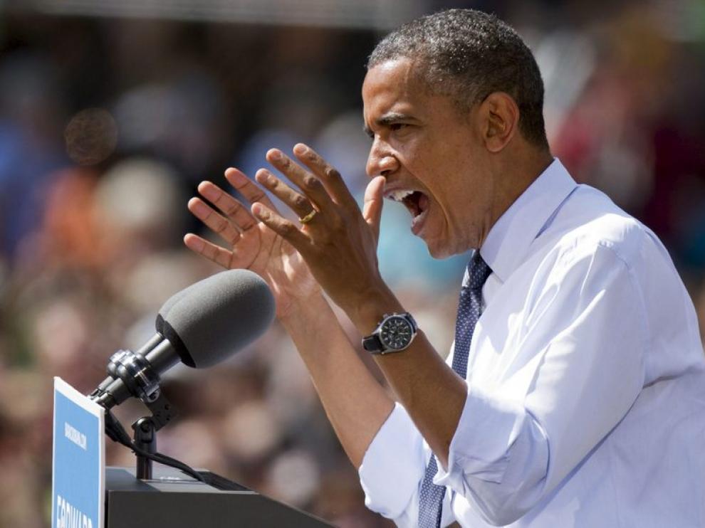 Obama en un acto de campaña este jueves