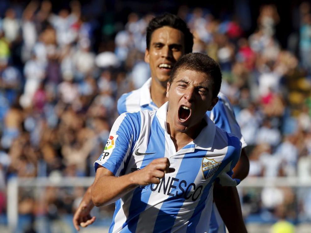 Portillo celebra el tercer gol del Málaga