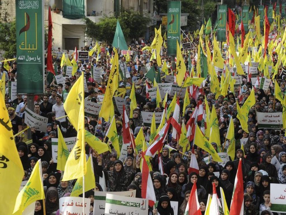 Manifestación en protesta por el vídeo sobre Mahoma, en Beirut