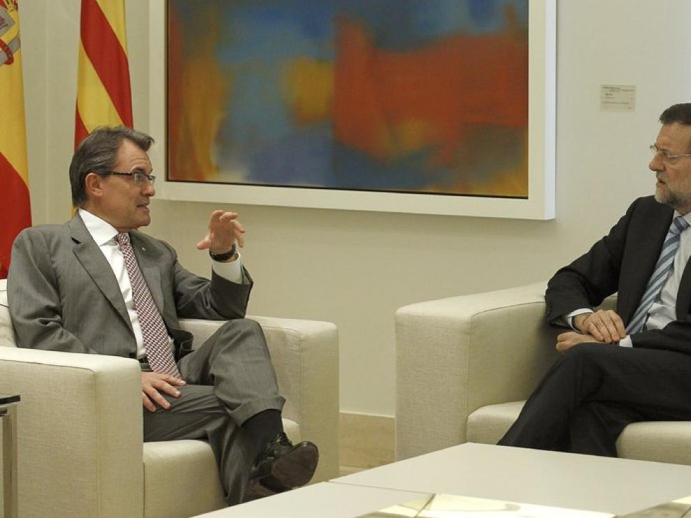 Mariano Rajoy y Artur Mas en la reunión sobre el pacto fiscal