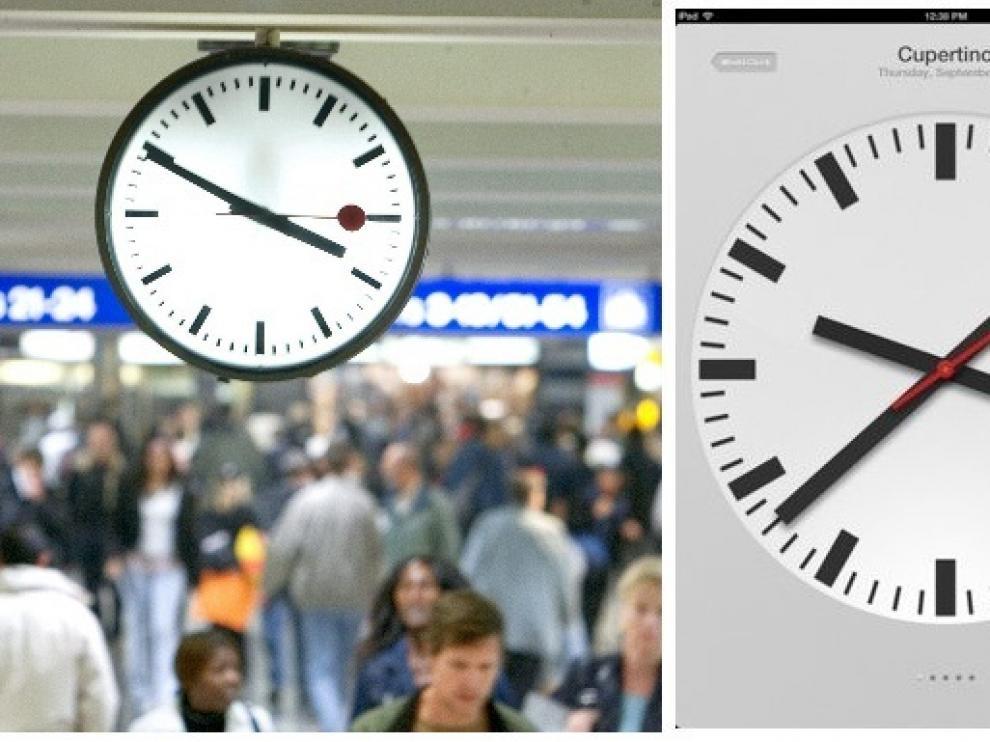 Reloj en una estación suiza.