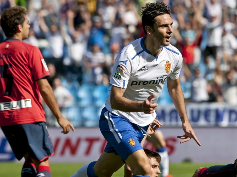 Postiga celebra un gol esta temporada