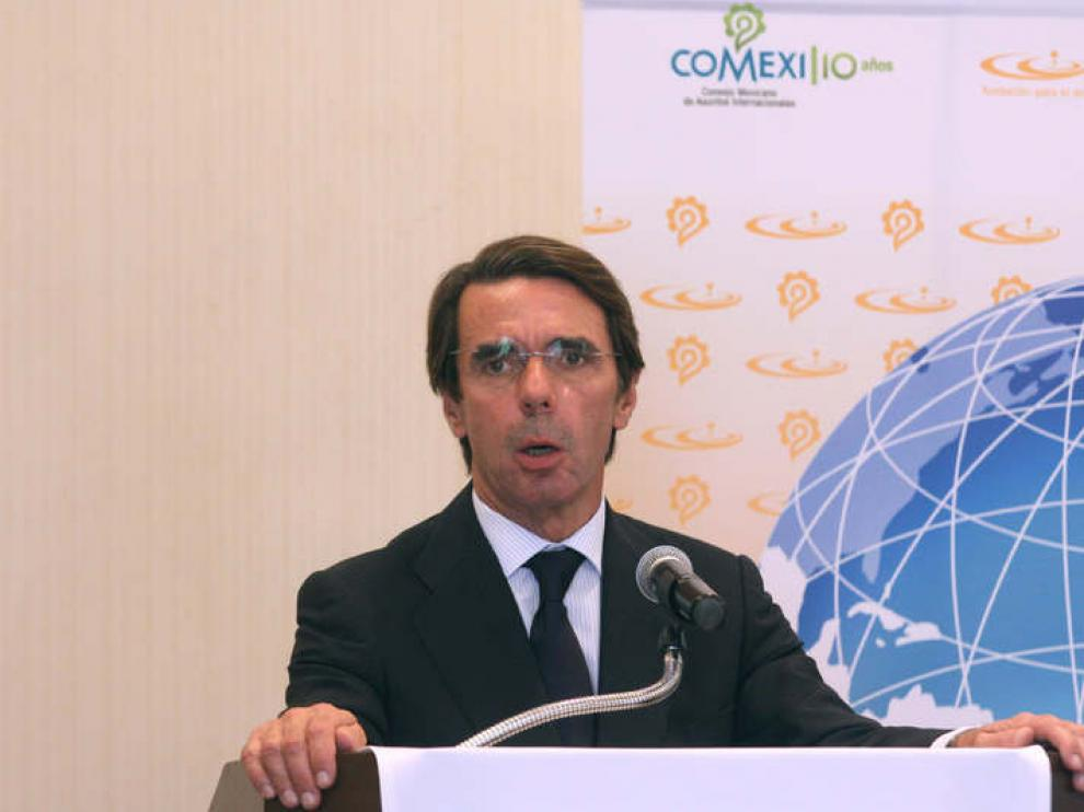Aznar, durante su intervención en México