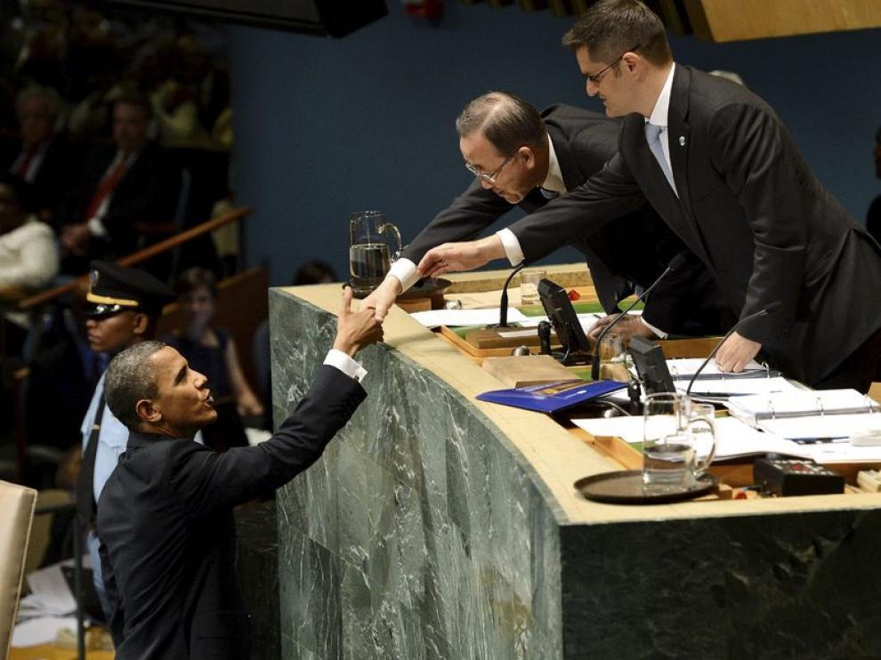 Obama saluda al secretario general de la ONU y al presidente de la Asamblea
