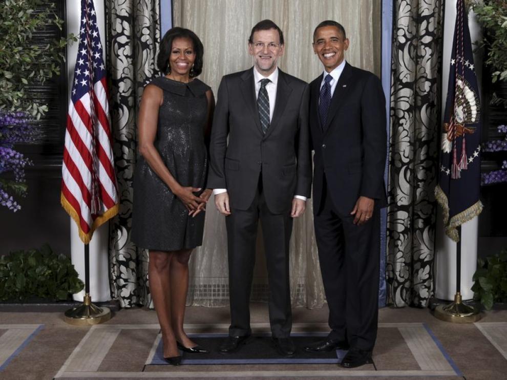 Mariano Rajoy (c), junto al presidente de Estados Unidos y su esposa.