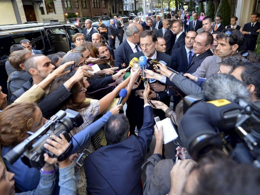 Mariano Rajoy, atendiendo a la prensa tras su llegado a Nueva York