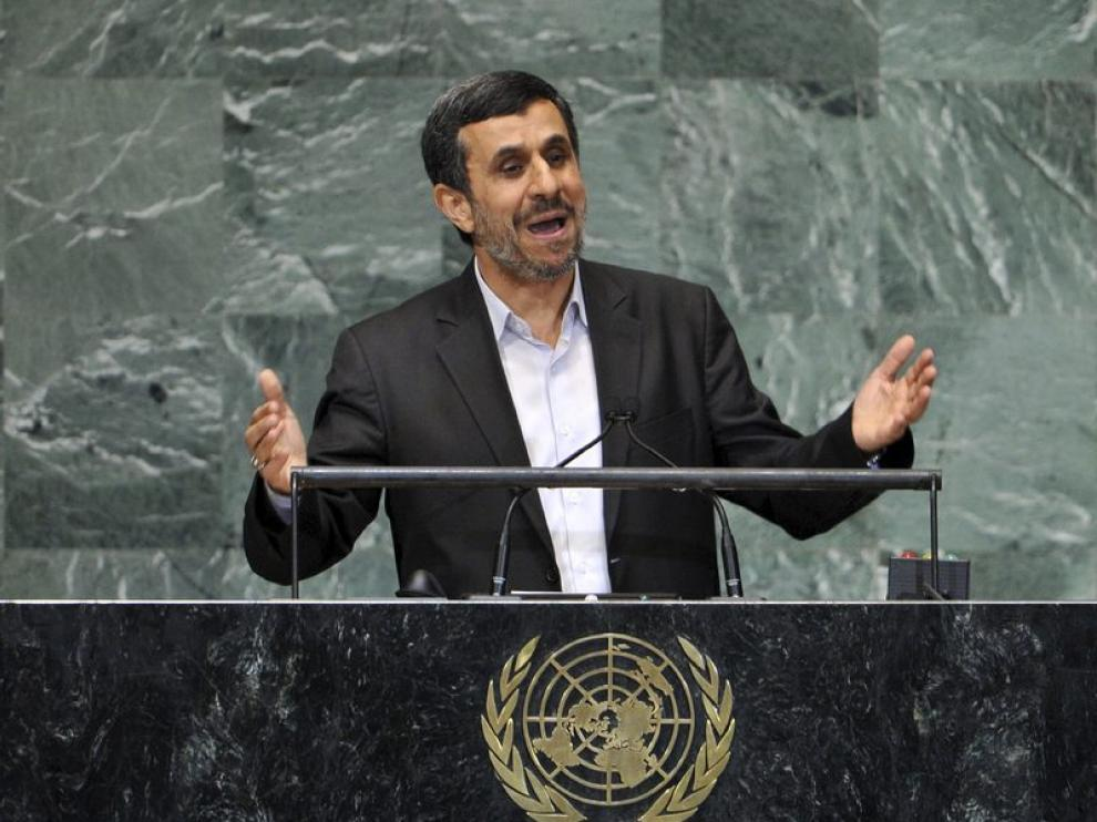 El presidente iraní, Mahmud Ahmadineyad, durante su intervención.