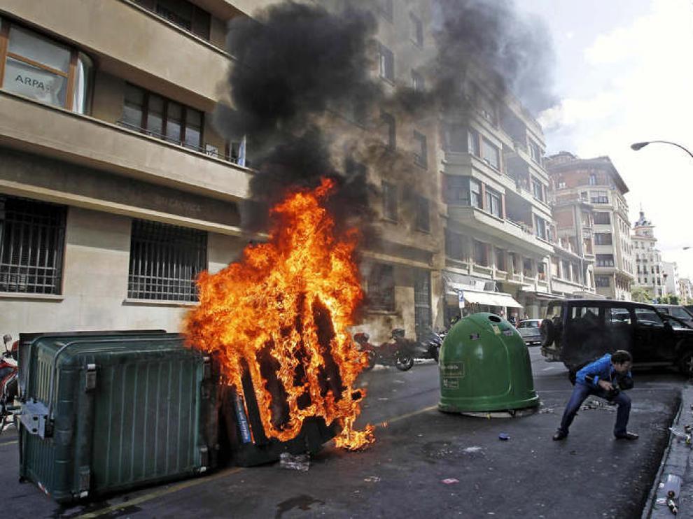 Incidentes en Pamplona durante la manifestación