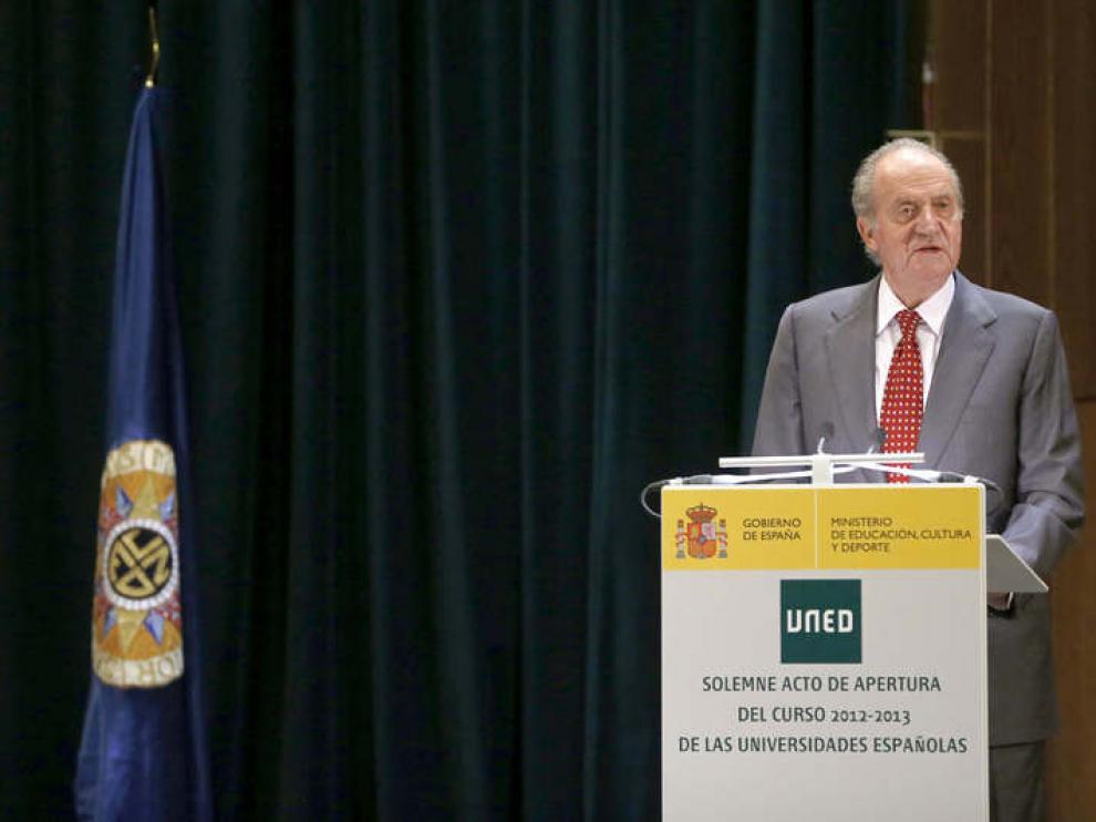 El Rey, durante la inauguración del curso universitario de la UNED