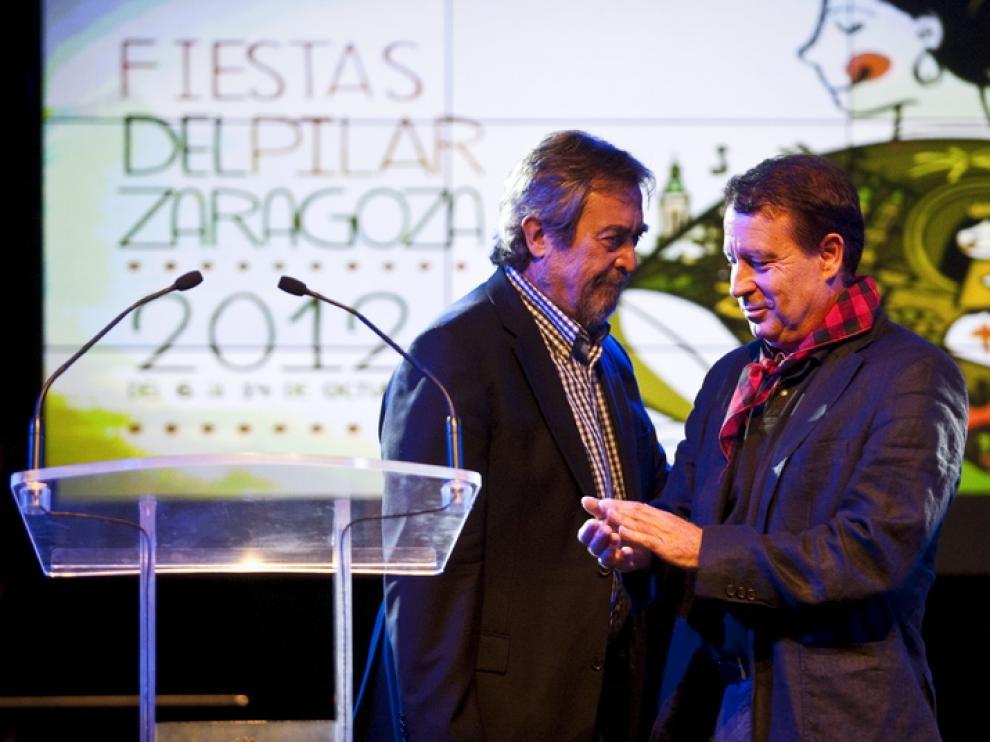 Belloch y Blasco durante la presentación de las fiestas