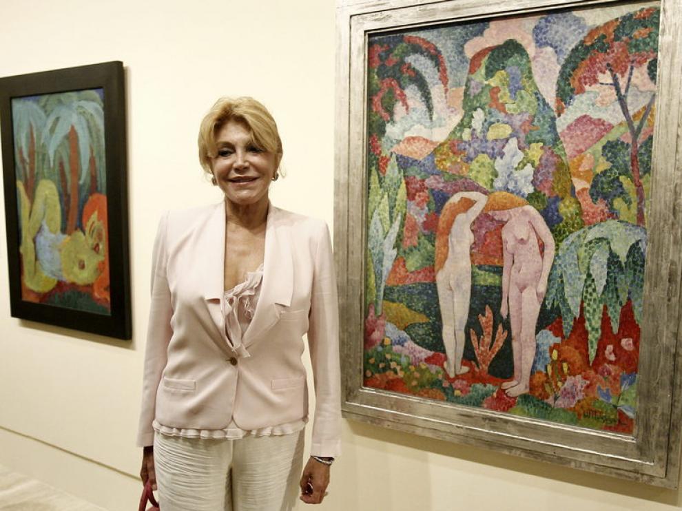 Tita Cervera, la baronesa Thyssen, en la presentación de una exposición