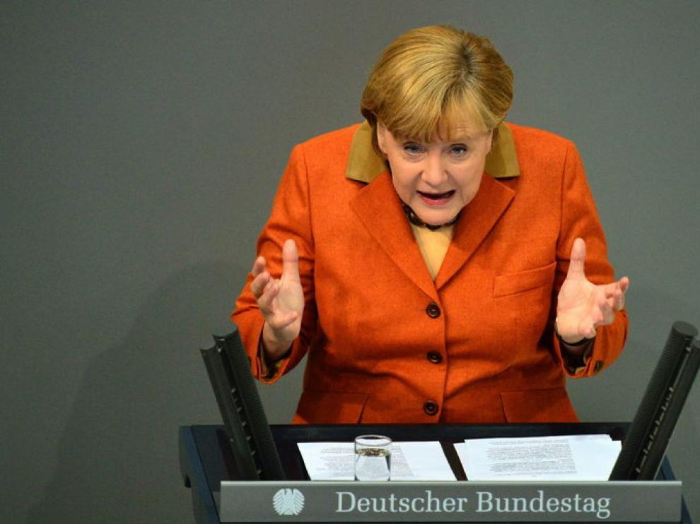La canciller alemana en el Bundestag