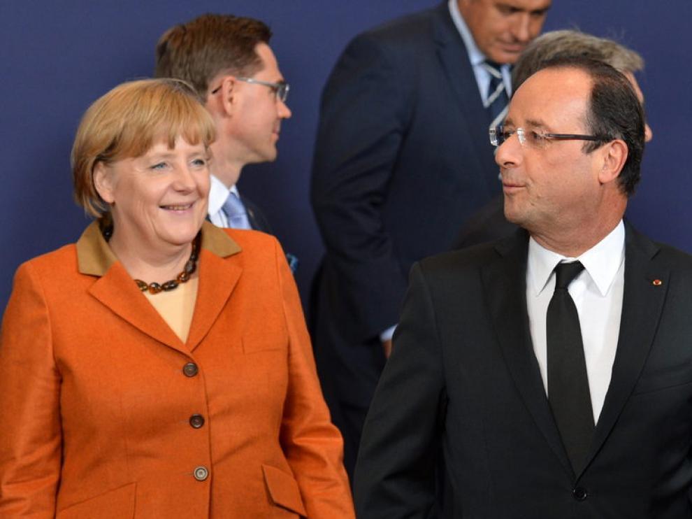 Hollande y Merkel, en Bruselas