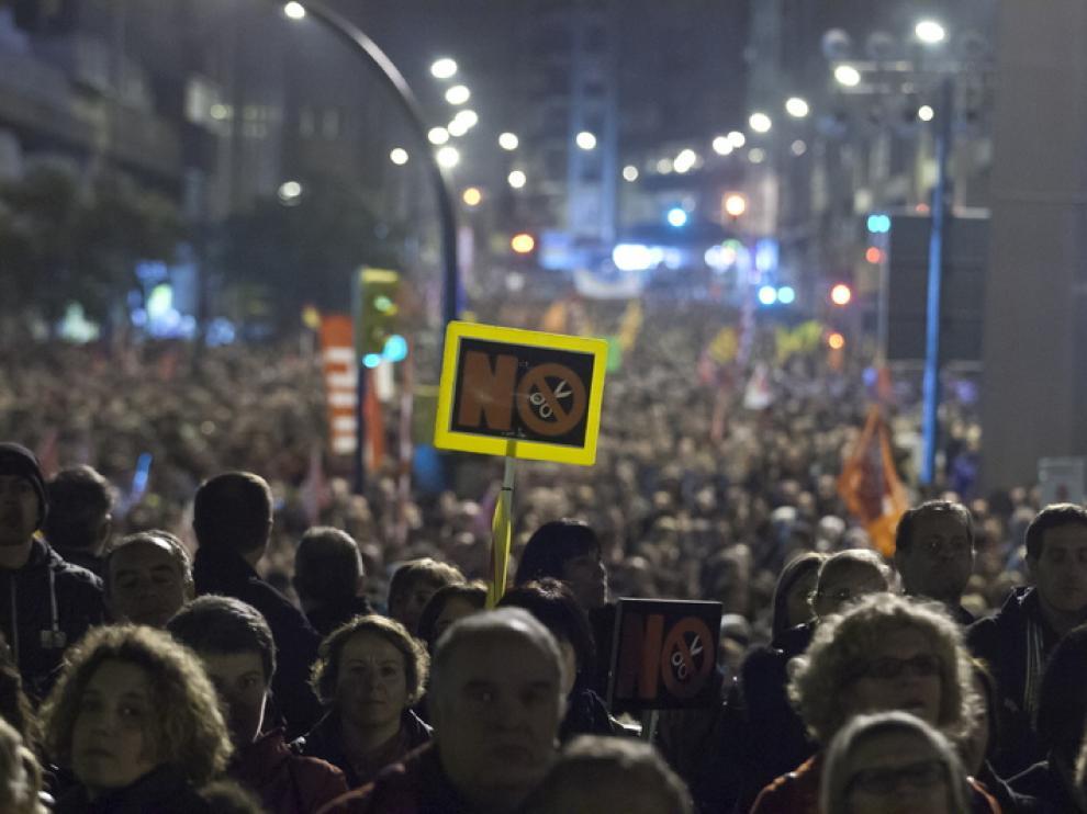 Manifestación el día de la huelga general del 14-N en Zaragoza
