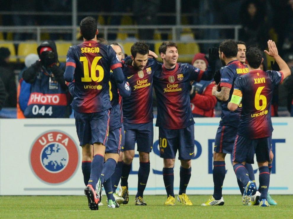 Los jugadores del FC Barcelona celebran un gol