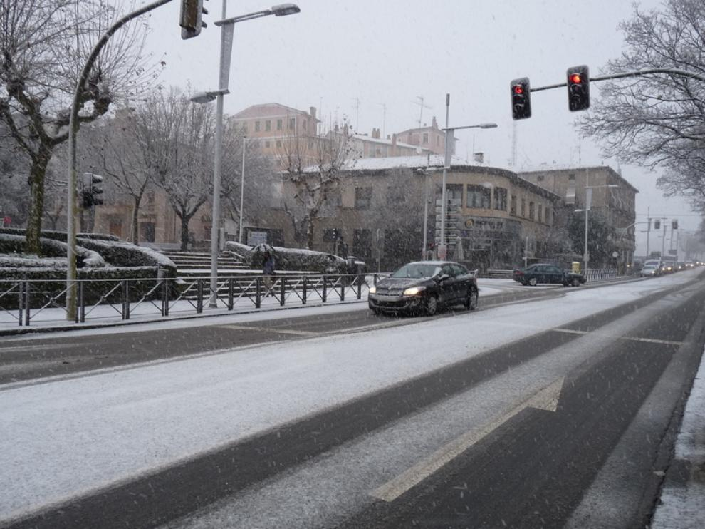 Nieve caída en Jaca este miércoles